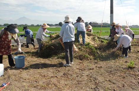 資源循環 刈草で堆肥作り
