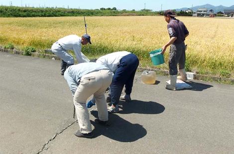 農道のひび割れ補修